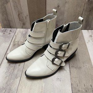 Steve Madden Bark Buckle Ankle Leather Booties